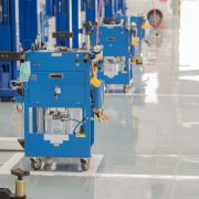 A self leveling floor coating is suitable for industrial, commercial and residential environments.