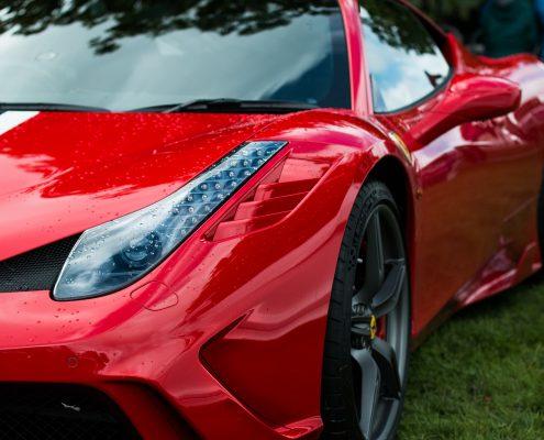 red ferrari with nano ceramic coating for cars coating