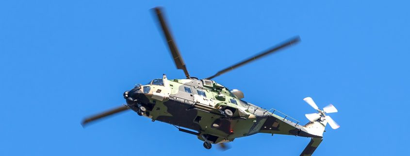Indestructible paint in military use applied to a helicopter