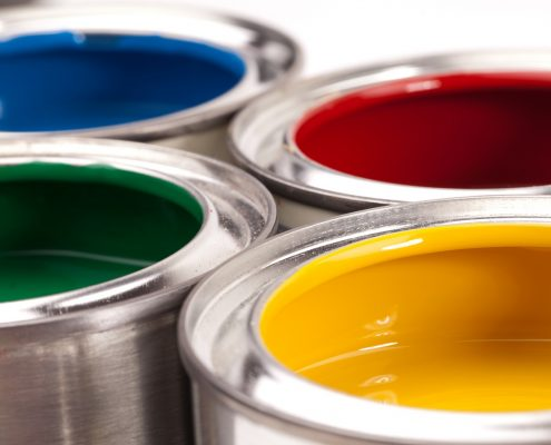 architectural coatings in open paint cans