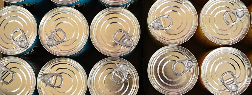 packaging coating applied on food cans placed in rows